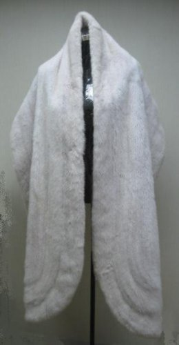 "LADIES WHITE FEMALE MINK DIRECTIONAL LONG STOLE   - 25372  (SIZE 100"" X 17"")"