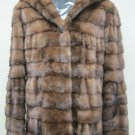 LADIES STUNNING USA DEMIBUFF MINK HOODIE WORK JACKET - 67029(SIZE 44 = 12)