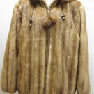 LADIES DYED WHISKEY MINK LET OUT HOODIE JACKET - 59018(o) SIZE L