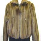 LADIES CUTE MAHOGANY US  MINK DETACHABLE HOODIE JKT-59096(o) SIZE M