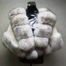 LADIES NATURAL WHITE F MINK CAPE TRIM WITH BLUE FOX - 67108 ( SZ F)
