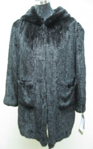 LADIES BLACK SEMI SHEARED MINK SECTION JACKET (RS-05) szXL