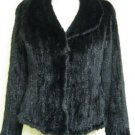 LADIES NATURAL BLACK KNITTED USA MINK JACKET - HF10226(SZ F = M)