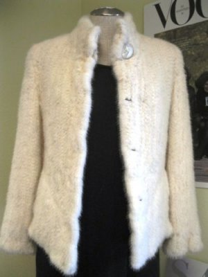 LADIES NATURAL WHITE KNITTED USA MINK KNITTED JKT W/PRINT LINING-HF10214(SZ M)