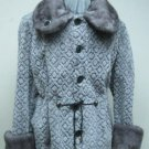 LADIES GREY GROOVED SHEARED MINK REVERSIBLE WOVEN JACKET (C3103)-SZ M