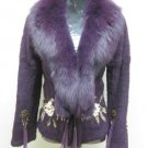 LADIES DYED PURPLE SHEARED REX JACKET TRIM WITH FOX (WE0737) SZ M