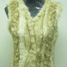 LADIES BLEACHED MUSKRAT KNITTED VEST - HHH-42 (SIZE F = S)