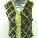 LADIES BROWNN & GOLDEN YELLOW KNITTED DIAGONAL REX VEST(HH30/43) S