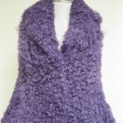 LADIES CUTE CURED PURPLE BABY TIBET LAMB VEST (W - 10)SZ M