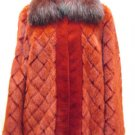 LADIES RED CHECK MINK JACKET TRIM WITH RACCOON COLLAR & CUFF-DND105(o) SZ10 = M