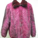 MENS DYED FUSCHIA MINK TAIL CHERVON BOMBER JKT W/CHINCHILLA COLLAR-67113(2XL)