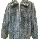 MENS DARK BROWN MINK TAIL CHERVON BOMBER JKT W/CHINCHILLA COLLAR-67114(SZ XL)