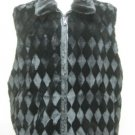 MENS DESIGN SHEARED BLACK MINK VEST REVERSIBLE TO LEATHER-67118(o) many sizes