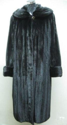 LADIES BLACK MINK COAT WITH BIG ROUND COLLAR & CUFF TRIM - 38762 (SZ M/L)