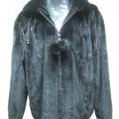 LADIES BLACK US SEMI SHEARED MINK DETACHABLE HOOD JACKET-67141 (SIZE L)