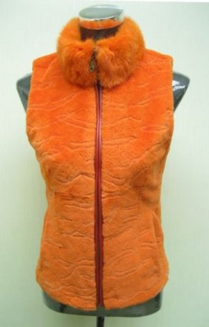 LADIES DYED ORANGE SHEARED REX VEST(HHO9) - SIZE F = S