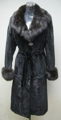 LADIES SHEARED BLK MINK LONG COAT TRIM WITH SABLE COLLAR-55664/6(size 40 & 42)