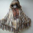 LADIES KNITTED FINLAND HARE REX HOODIE CAPE TRIM WITH FOX - HF0706241(SZ F)