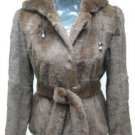 LADIES DYED FINLAND BROWN REX HOODIE JACKET - HF0704F(SZ F = M)