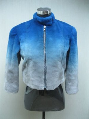 LADIES MOTORCYCLE SHORT MINK JACKET WITH DEGRADE BLUE TO GRAY (AM-3)SIZE M)sz S