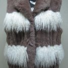 LADIES DYED PASTEL REX TRIM WITH WHITE LONG HAIR TIBET LAMB VEST-67249 (SIZE 12)