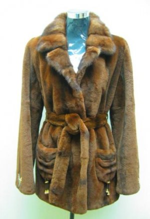 LADIES BROWN REX JACKET TRIM WITH MINK COLLAR (TS446 ) SZ 38 = M
