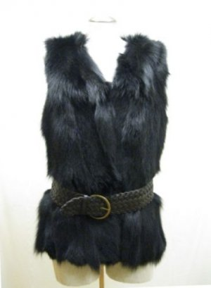 STUNNING CHIC REVERSIBLE BLK FOX VEST (o) available size in M & L