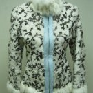 LADIES WHITE/BROWN PRINTED RABBIT JACKET (HH53 ) SZ F=S