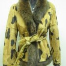 LADIES BROWN PRINTED REX RABBIT JACKET WITH FOX TRIM (HH04) SZ F = M
