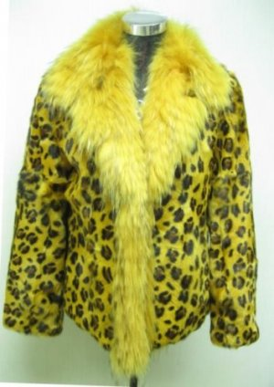 LADIES YELLOW PRINTED LAMB JACKET  TRIM WITH FOX (HH01)Sz F=S