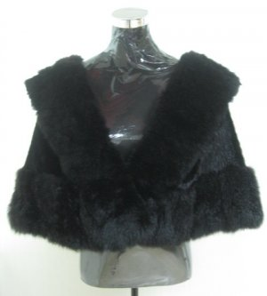 LADIES CLASSIC BLACK MINK CAPE TRIM WITH MATCHING COL OPOSSUM FUR-65251 (SZ F)