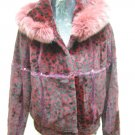 LADIES DYED WINE PRINTED RABBIT JACKET (HH06 ) SZ F=M