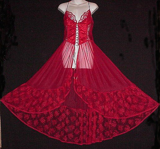 FLAMING HOT! Vintage -= CORSET =- Nightgown LONG SWEEP~M!