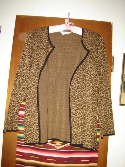 Exclusively Misook Leopard Animal Print Cardigan L
