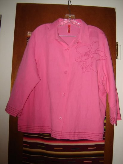 Womens Hanna Andersson Pink Linen Cotton Shirt XL
