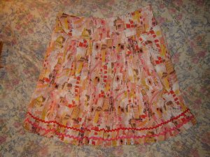 Willi Smith Cotton Skirt Rick Rack Trim 14 L