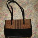 Brahmin Black Leather Tapestry Fabric Bag Purse