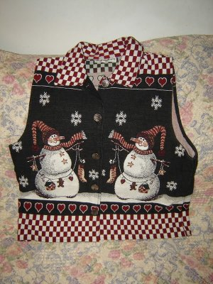 Womens Dress Barn Snowman Winter Christmas Vest L