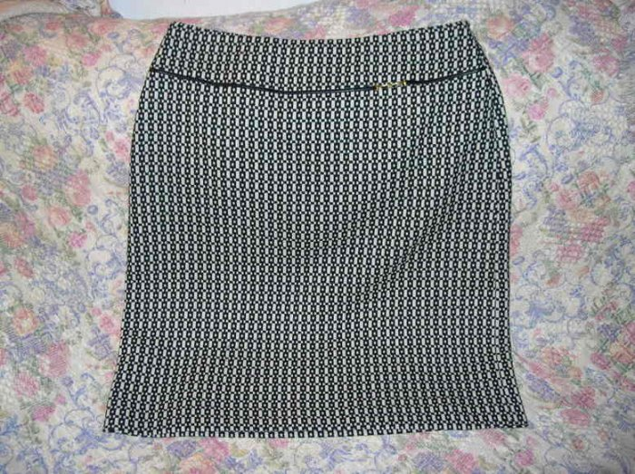 Banana Republic Leather Trimmed Wool Skirt 12 M New