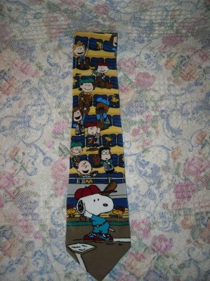 Mens Peanuts Snoopy Beagle at Bat Silk Tie