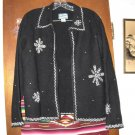 Womens Pendleton Black Light Wool Snowflake Jacket M