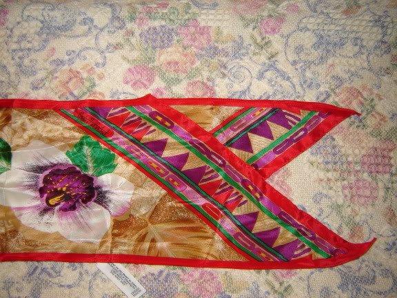 Oscar DeLaRenta Studio Long Silk Orchid Floral Scarf