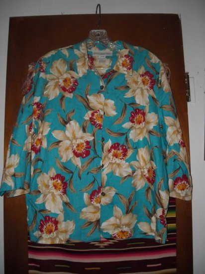 Womens Jones New York Linen Orchid Shirt M