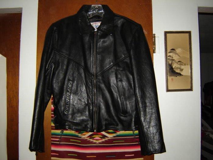 Womens Vanguard Leather Black Biker Motorcycle Jacket M