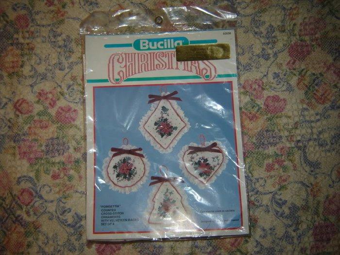 Christmas Ornaments Pointsettia Cross stitch Kit