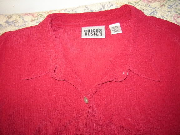 Womens Chicos Chico�s Design Red Silk Blouse Shirt 3 L
