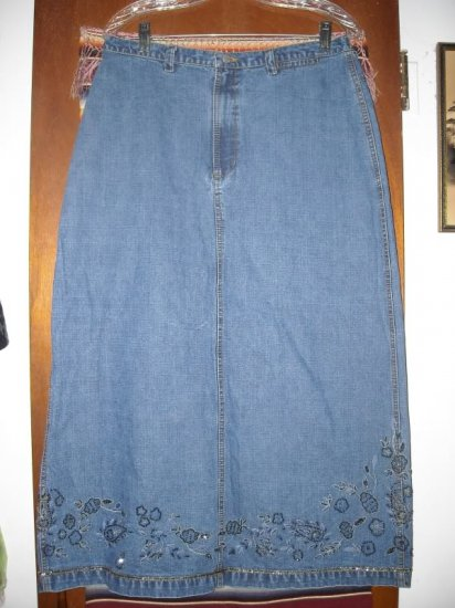 Womens Chicos Beaded Denim Long Skirt 2