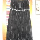 Womens Black Velvet Tiered Embroidered Skirt NWT L