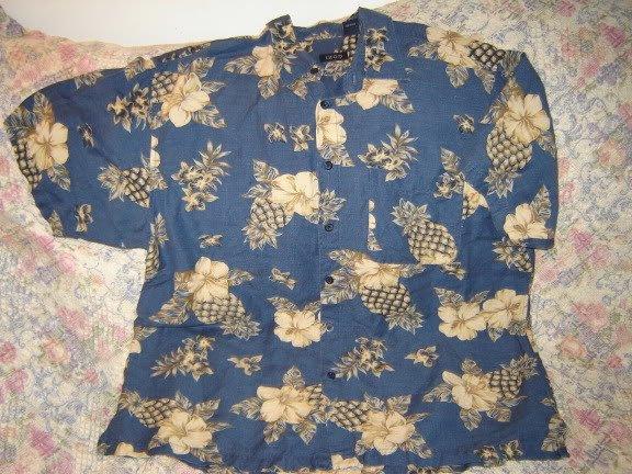 Mens Shirt Hawaiian Style L Linen Rayon Blend