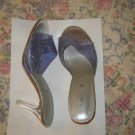 Fioni Purple Glitter Clear Heels Slides Mules Shoes 7.5